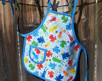 Kids Paint Apron - Laminated Cotton Frog Print Apron Size Small