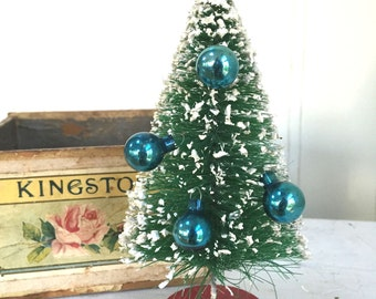 VINTAGE FEATHER TREE Ornaments - Tiny Blue - Christmas Ornaments - 15 - Glass Ornaments
