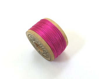 BELDING CORTICELLI - Vintage Thread - Pure Silk - Hot Pink #2260 - 10 yd Spools - Buttonhole Embroidery Ribbon Fly Tying