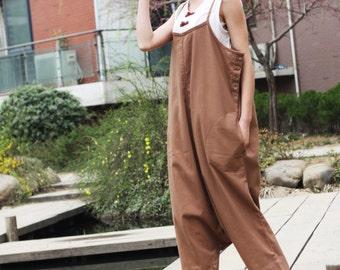 brown  linen maxi dress pants---a pants a dress black grey linen dress