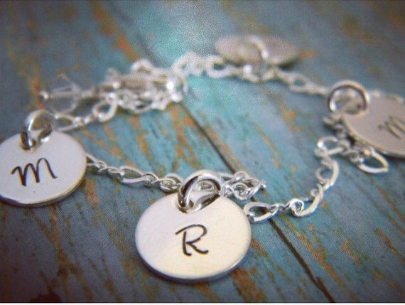Sterling Silver, Personalized initial bracelet, 3 initial, hand stamped, custom made, charm bracelet, letter, name, date, Mommy jewelry