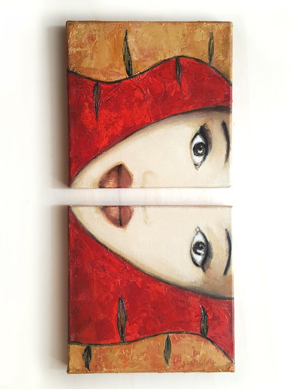 Ethnic Woman Portrait, Woman Art, Face, SEPARATED, Original Art Canvas Painting, Two Mixed Media Paintings, Red Painting Original Fine Art