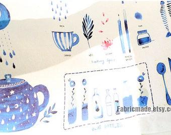 "Blue Watercolor Cotton Linen Fabric, Cute Blue Bottles On Off White Linen - One Panel 37""X57"""