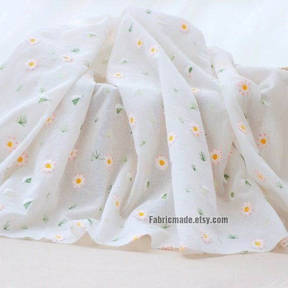 Off White Embroidery Fabric, Off White Lace Cotton Embroidery Small Sunflower- Dress Curtain Fabric  1/2 Yard