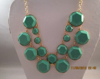 2 Strand Gold Tone Bib Necklace with Green and Gold Beads