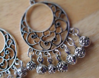 Silver Tone Chandelier Earrings With Silver Tone Ball Dangles