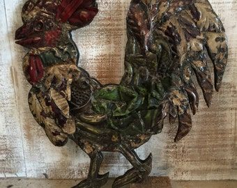 Patchwork rooster designed with antique tin ceiling tile