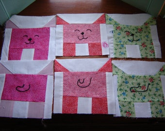 Quilting squares dog motif 6.25 inch squares sewing supply craft supply quilt top squares 26 piece set childs quilt top