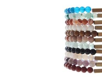 Zen Gemstones Beaded Gold Brass Bar Stackable Bracelets