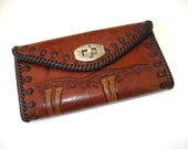 Vintage hand tooled horse leather wallet, equestrian money clutch, woman's accessory, check book cover, coin purse, Western, gift idea