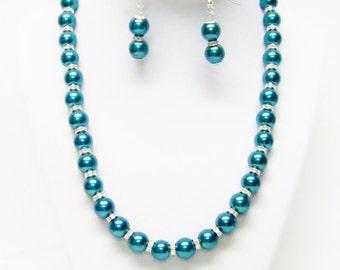 10mm Dark Teal Green Glass Pearl w/Rondelle Crystal Rhinestone Necklace & Earrings Set