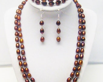 2 Strand Brown Freshwater Rice Pearl Necklace/Bracelet/Earrings Set