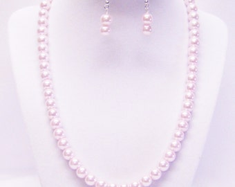 8mm Pink Glass Pearl Necklace & Earrings Set