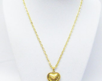 Gold Plated Filigree Puff Heart Pendant Necklace