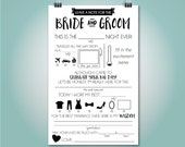 INSTANT DOWNLOAD - Wedding Mad Libs, Wedding Advice Card, Fill in the Blank, Custom Colors, , 5.5x8.5