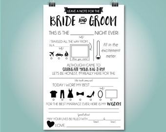 Wedding Mad Libs, Wedding Advice Card, Fill in the Blank, Custom Colors, Instant Download, 5.5x8.5