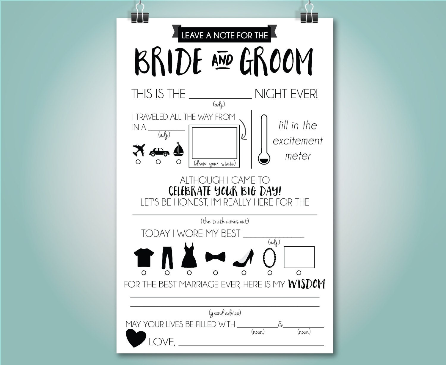 Wedding mad libs wedding advice card fill in the blank for Bridal shower fill in invitations