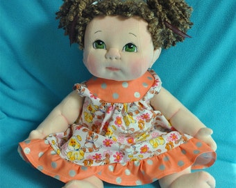 "SALE! Fretta's OOAK life size 48 cm / 19"" Soft Sculpture Baby. Light Brown Hair, Green Eyes. Child-SafeTextile Baby Doll"