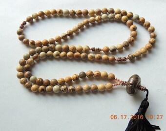 Mala Necklace 108 /  Mens / womens positivity Mala / Buddhist Prayer Beads / Fancy Jasper necklace,  Mala with copper compliments