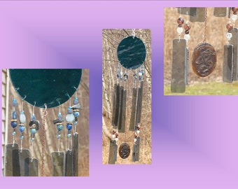 Teal Glass Windchime, Sea Wind Chime, Mobile Window Suncatcher, Stained Glass Garden Art, Sea Ocean Beach Decor