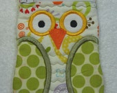 Owl Zipper Case (small) Pouch Jewelry Pouch Travel Pouch Ready to Ship