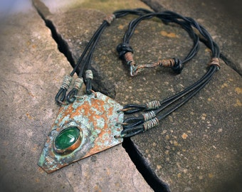 Jade Aged Copper  Necklace