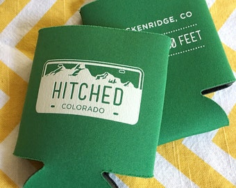 Colorado wedding, License Plate Wedding favors, Just Hitched can coolers, Mountain destination wedding coolie (50 qty)
