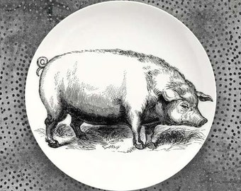 Pig melamine plate with hand drawn wreath