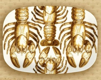 crustacean n0. 3, golden melamine platter