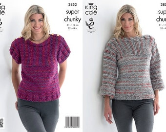 Knitting Pattern King Cole 3852 Ladies Super Chunky Sweater Top