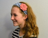 Periwinkle Crochet Headband with Three Flower Clips - Interchangeable Hair Clips