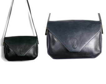 JEAN CHARLES PARIS  french shoulder bag  dark blue leather made in france