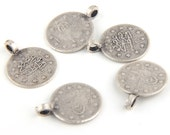 Ottoman / Turkish Tughra Coin Charms, Silver Plated, 5 pcs // SCh-111