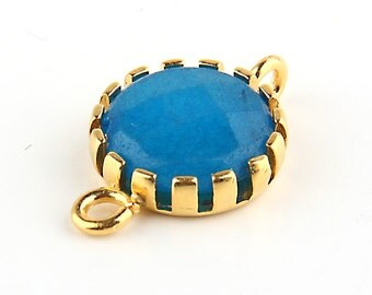Cyan Blue, Jade Stone Connector with Open Prong Setting,1  piece // GC-386