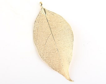 Real Leaf Pendant, Gold Plated, Gold Leaf Pendant, 1 pc // GP-412