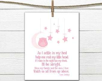 Bedtime Prayer with Sleeping Owl  PDF Digital Download  Nursery Print Any Size