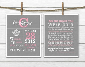 Birth Stats - Crown Birth Announcement Wall Art Set  8x10 or 11 x14
