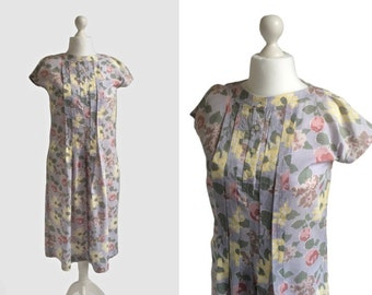 Horrockses Dress - Smock Dress - 1980s Dress - Grey Floral Print Cotton Dress