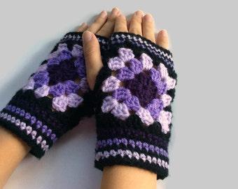 Black Granny Square Fingerless Mittens | Crochet Fingerless Gloves - Purple Fingerless Mitts