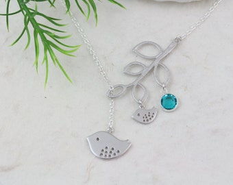 Lariat Necklace-Personalized with Birthstone Necklace . Mom to Be Necklace- Mommy and baby bird Necklace . New Mom