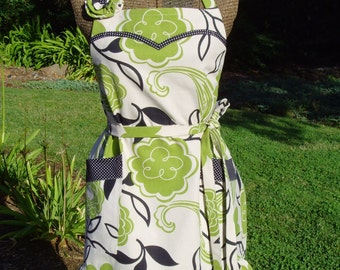 Adjustable Apron/ Women's Apron/ Retro Shabby Chic Apron/ Lime Green Flowers, Paisleys, Black Leaves, Cream background, Canvas Fabric