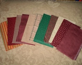 11 Cotton Fabric Fat Quarters in Blended Berry Shades