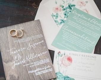 Real wood wedding invitation with white ink for outdoor garden boho wedding, flower roses botanical wedding invites unique - DEPOSIT
