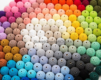 "Crochet beads 5 PCS 0.55"" 17-18 mm  Wooden crochet cotton beads Crocheted bead Round beads Necklaces"