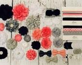 Baby Headband Crafting Station - Urban Chic - Coral Rose, Black, Grey, White - Trendy DIY Headband Making Kit - Makes 18+ Headbands!
