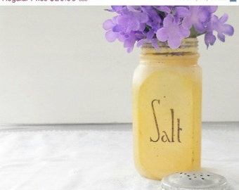 On Sale Distressed Antique Glass Salt Shaker with Lid, Art Deco, Housewares, Large Shaker, Home Decor