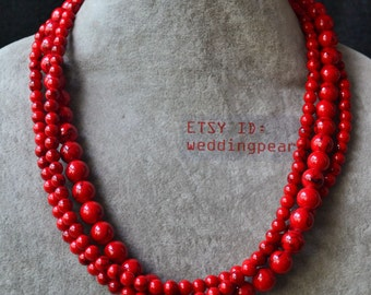 red turquoise necklace,triple strand 18 inch 6-10mm red bead necklace,statement necklace,man-made red turquoise necklaces
