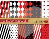 80% off Red Black Papers Digital Paper Pack Scrapbook Harlequin Patterns Mardi Gras Backgrounds Chinese New Year Paper