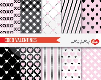 Coco VALENTINES Digital Paper Pack Pink Black Scrapbook Patterns Background Valentines Paper gingham patterns coco chanel patterns