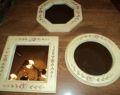Three small vintage mirrors
